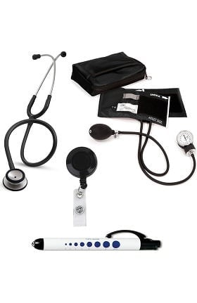 3M Littmann Classic II SE Stethoscope, Prestige Medical Adult Sphygmomanometer with Case, Quick Lites Penlight and Retracteze ID Clip Kit