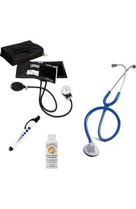 "3M Littmann Select 28"" Stethoscope with Prestige Medical Aneroid Sphygmomanometer, Carrying Case, Pupil Gauge Quick Lites Penlight & Praveni Cleaning Kit"