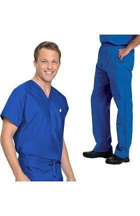 Landau Men's Genuine Reversible Scrub Top & Elastic Scrub Pant Set