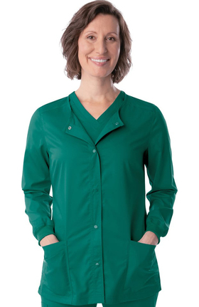 ProFlex by Landau Women's Snap Front Warm Up Solid Scrub Jacket