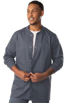 ProFlex by Landau Men's Knit Collar Snap Front Solid Scrub Jacket