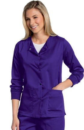 All Day by Landau Women's Snap Front Warm-Up Solid Scrub Jacket