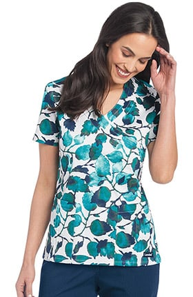Clearance Landau Women's Crossover Leaf Print Scrub Top