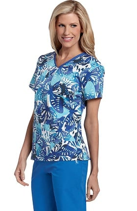 Clearance Landau Women's V-Neck Set In Sleeve Butterfly Print Scrub Top