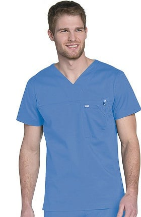 Landau Men's V-Neck Ripstop Scrub Top