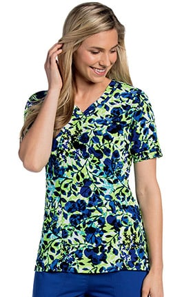 Clearance Landau Women's Sweetheart Neck Floral Print Scrub Top