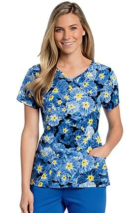 Clearance Landau Women's Mock Wrap Floral Print Scrub Top