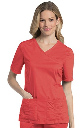 Pre-Washed by Landau Women's Mock Wrap Solid Scrub Top