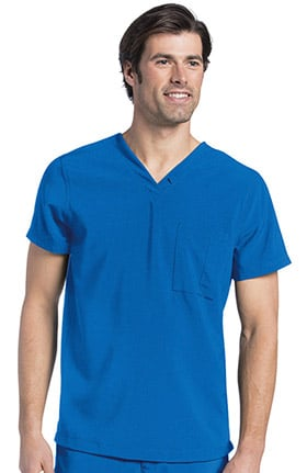 Landau Men's V-Neck Drop Tail Solid Scrub Top