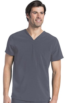 Clearance Landau Men's V-Neck Drop Tail Solid Scrub Top