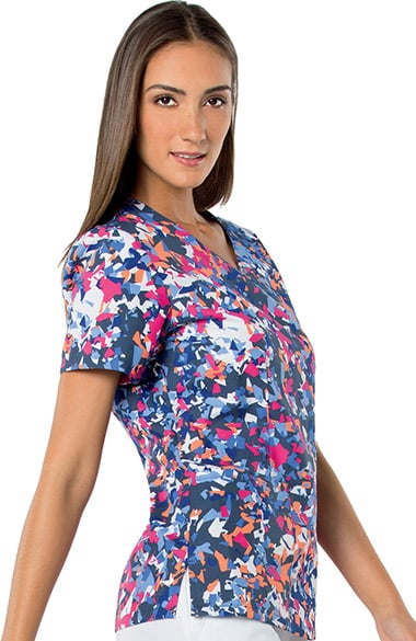 Landau Women S V Neck Abstract Print Tunic Scrub Top