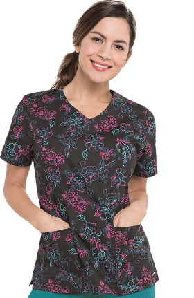 Landau Women's V-Neck Abstract Print Tunic Scrub Top