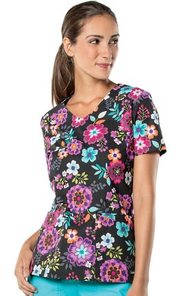 Landau Women's V-Neck Floral Print Tunic Scrub Top