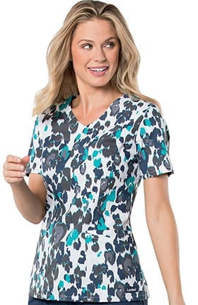 Landau Women's V-Neck Animal Print Tunic Scrub Top