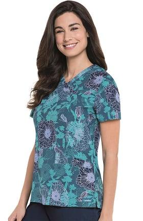 Landau Women's Mock Wrap Floral Print Scrub Top