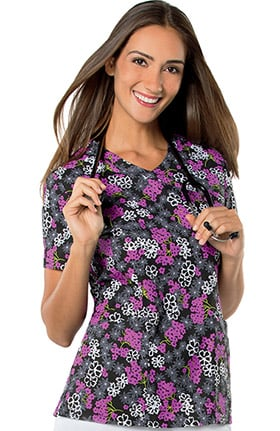 Landau Women's Mock Wrap Floral Print Tunic Scrub Top