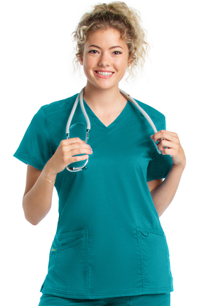 ProFlex by Landau Women's Modern V-Neck Tunic Solid Scrub Top