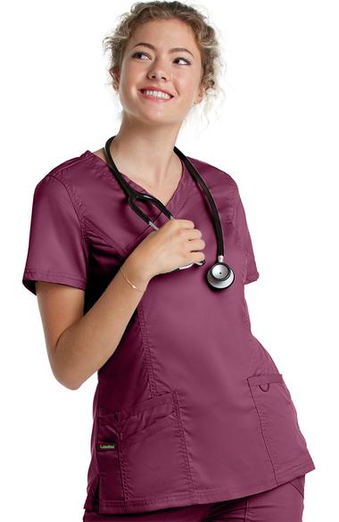 999605f4774 ProFlex by Landau Women's Mock Wrap Tunic Solid Scrub Top