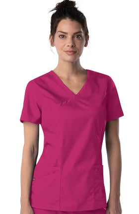 ProFlex by Landau Women's Mock Wrap Tunic Solid Scrub Top