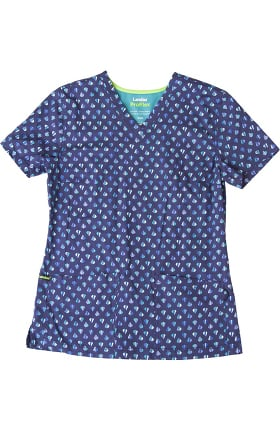 ProFlex by Landau Women's V-Neck Cool Bijou Print Scrub Top