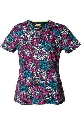 ProFlex by Landau Women's V-Neck Floral Print Scrub Top