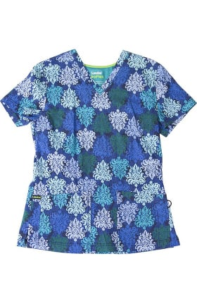 ProFlex by Landau Women's V-Neck Opulent Blues Print Scrub Top