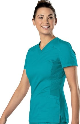 All Day by Landau Women's Knit Panel V-Neck Solid Scrub Top