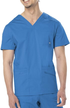 Clearance All Day by Landau Men's Ripstop V-Neck Solid Scrub Top