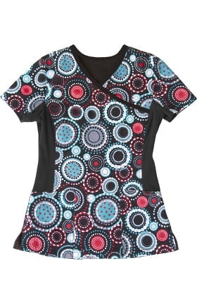 All Day by Landau Women's Knit Panel Circle Dot Print Scrub Top
