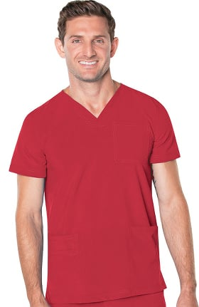 ProFlex by Landau Men's V-Neck Chest Pocket Solid Scrub Top