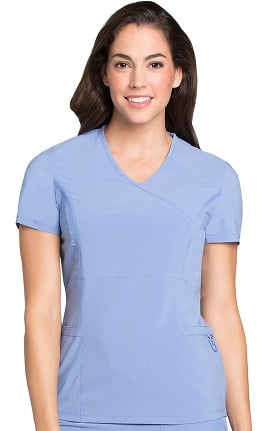 Lynx Women's Mock Wrap Fierce Tunic Solid Scrub Top