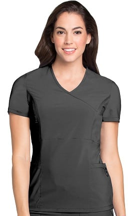 Clearance Lynx Women's Mock Wrap Fierce Tunic Solid Scrub Top