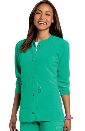 Lynx Women's Snap Front VersaTec™ Warm-Up Solid Scrub Jacket