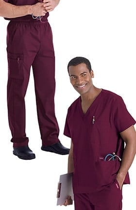 Landau Men's V-Neck Solid Scrub Top & Zip Fly Cargo Scrub Pant Set