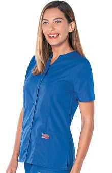 ScrubZone by Landau Women's Snap Front Solid Scrub Top