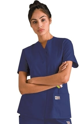 Clearance ScrubZone by Landau Women's Snap Front Solid Scrub Top