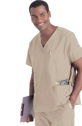 Landau Men's 5-Pocket Solid Scrub Top