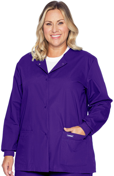 a915ad28f7ed4e Landau Women's Crew Neck Warm-Up Solid Scrub Jacket | allheart.com