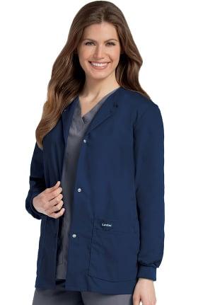 Clearance Landau Women's Crew Neck Warm-Up Solid Scrub Jacket