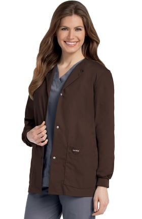 Clearance Landau Women's Crew Neck Warm-Up Solid Scrub Jacket