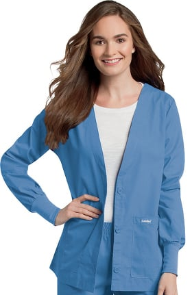 Clearance Landau Women's V-Neck Cardigan Style Warmup Solid Scrub Jacket