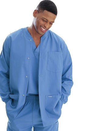 Landau Men's Warm-Up Solid Scrub Jacket