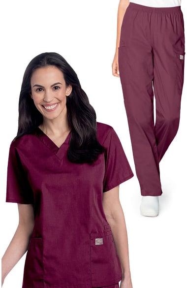 677ee29890e ... Women's Mock Wrap Solid Scrub Top & Elastic Waist Cargo Scrub Pant Set.  $26.98. Quick View