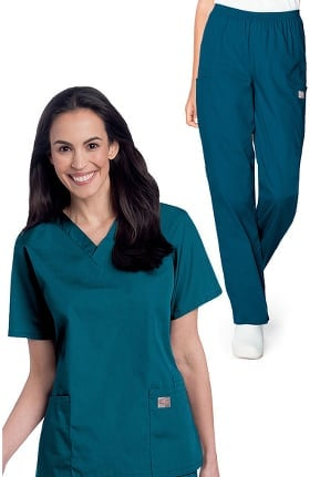 ScrubZone by Landau Women's V-Neck Solid Scrub Top & Cargo Scrub Pant Set