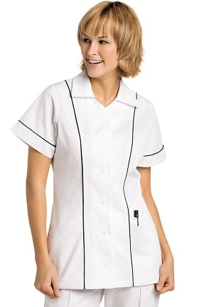 Landau Women's Student Tunic with Colored Piping Insets Solid Scrub Top