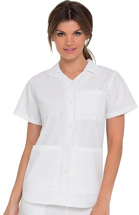 Clearance Landau Women's Collared Button Front Nursing Student Solid Scrub Top