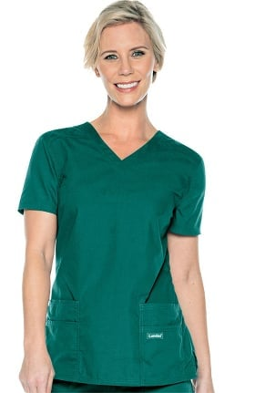 Urbane Essentials Women's Tailored Solid Scrub Top