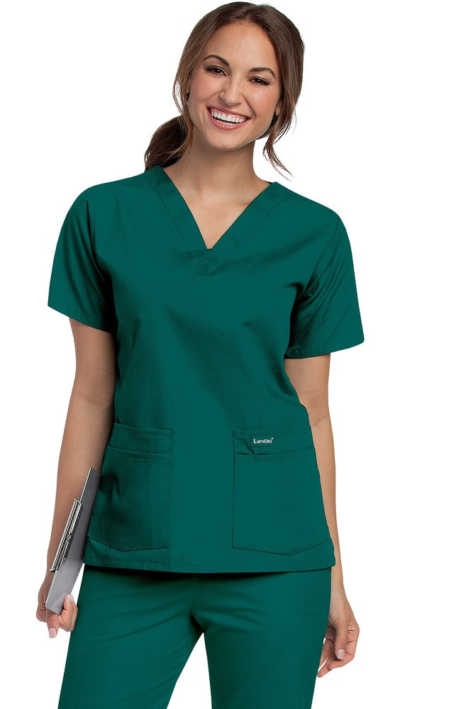 bf83df0a4c25 Landau Women s 4-Pocket V-Neck Classic Fit Solid Scrub Top ...