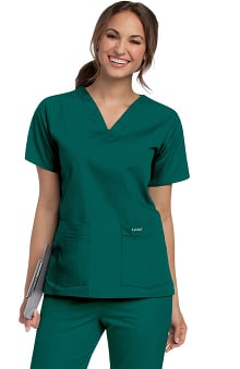 Landau Women's 4-Pocket V-Neck Classic Fit Solid Scrub Top