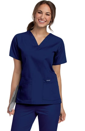 Clearance Landau Women's 4-Pocket V-Neck Classic Fit Solid Scrub Top